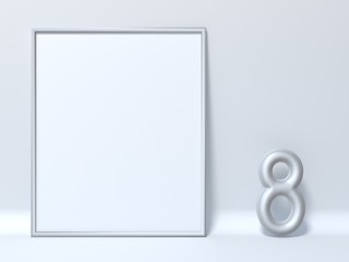 Mock up picture frame Number 8 EIGHT 3D