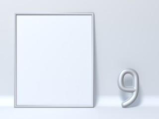 Mock up picture frame Number 9 NINE 3D