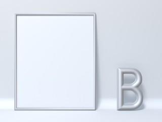 Mock up picture frame Letter B 3D