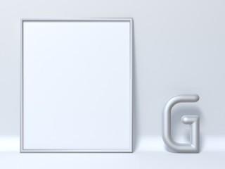 Mock up picture frame Letter G 3D