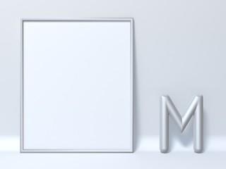 Mock up picture frame Letter M 3D