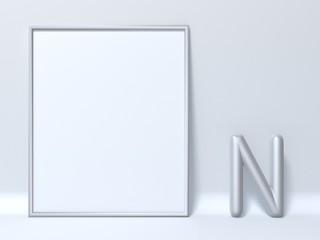 Mock up picture frame Letter N 3D