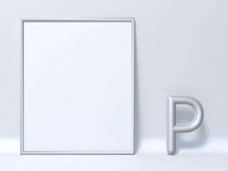Mock up picture frame Letter P 3D