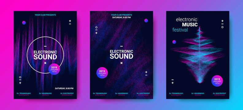 Wave Music Posters Set.