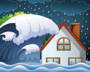 Tsunami hitting the house