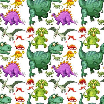Various types of dinosaur seamless pattern
