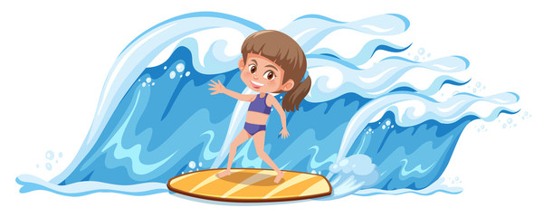 A girl surfing the big wave
