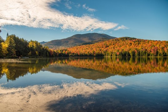 Morning light reflection and fall color in the Adirondack mountains