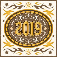 2019 western cowboy belt buckle vector illustration