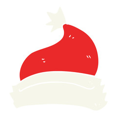 flat color illustration of a cartoon christmas hat
