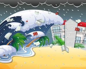 Tsunami hitting beach resort