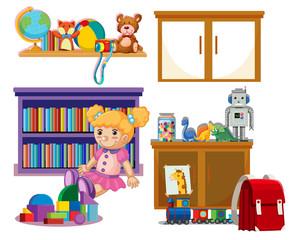 Set of kid toys