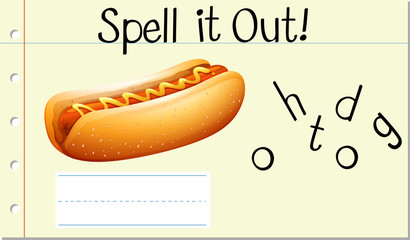 Spell English word hotdog