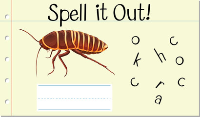 Spell English word cockroach