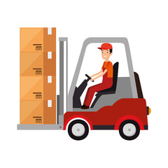 delivery worker driving forklift with boxes