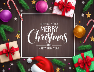 Christmas background vector banner with christmas elements, colorful decorations and greeting text in a boarder in wood texture background. Vector illustration.