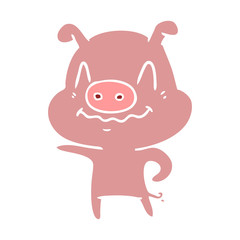 nervous flat color style cartoon pig