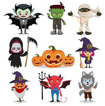 halloween vector characters set. Flat scary cartoon horror elements like witch, reaper, ghost, vampire and zombie isolated in white. Vector illustration.
