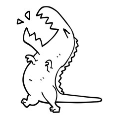 line drawing cartoon roaring t rex