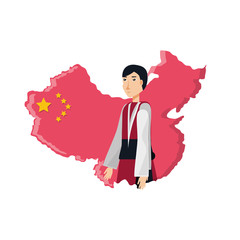 map china with man isolated icon