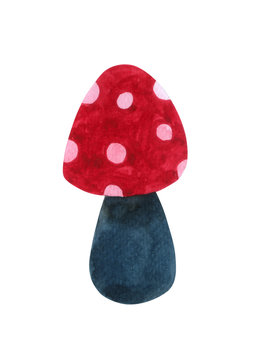 Red Mushroom watercolor isolated on white background . Hand drawn painting.