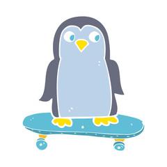 flat color illustration of a cartoon penguin riding skateboard