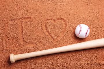 I love baseball written on the dirt