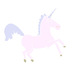 flat color style cartoon unicorn