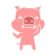 angry flat color style cartoon pig