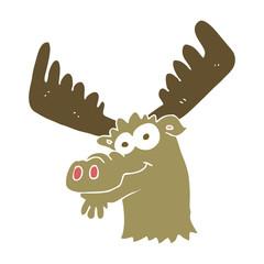 flat color illustration of a cartoon moose