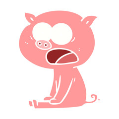 flat color style cartoon sitting pig shouting