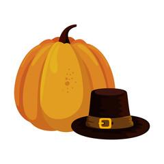 fresh pumpkin with pilgrim hat
