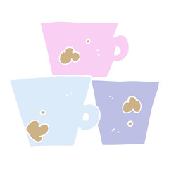 flat color illustration of a cartoon stack of coffee cups