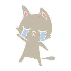 crying flat color style cartoon cat
