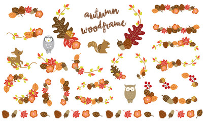 秋の落葉のおしゃれなフレームセット