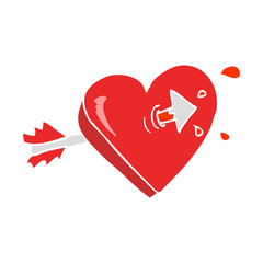 flat color illustration of a cartoon arrow through heart flat color illustration of a cartoon