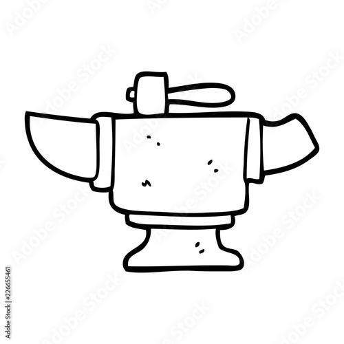 line drawing cartoon heavy old anvil