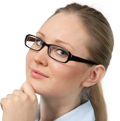 Young Woman with Glasses Stroking Chin - Isolated