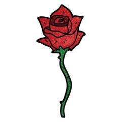 cartoon doodle red rose