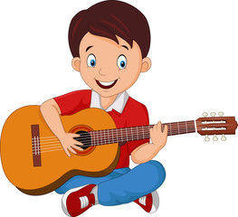 Cartoon boy playing guitar