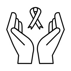 hands with pink ribbon breast cancer