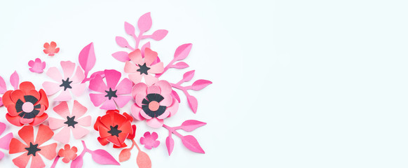 Flower and leaf pink and black color made of paper