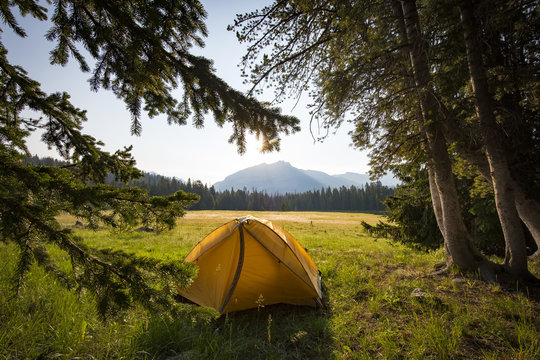 Campground at Diamond Lake in the Wind River Range of Wyoming