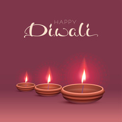 Happy Diwali text greeting card. Indian festival of lights