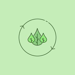 Three green leaves in arrow circle eco icon