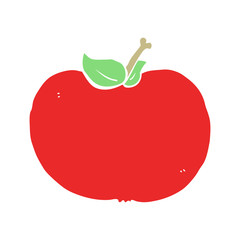 flat color style cartoon apple