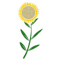 flat color style cartoon sunflower