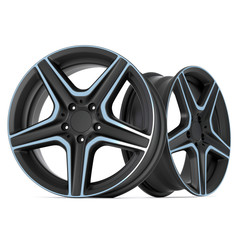 Ultra Realistic 3D Render of Steel Alloy Car Rims Isolated on White Background