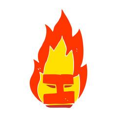 flat color illustration of a cartoon flaming letter I