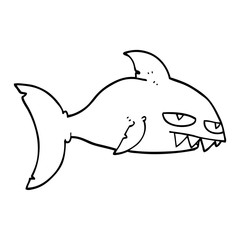 line drawing cartoon deadly shark